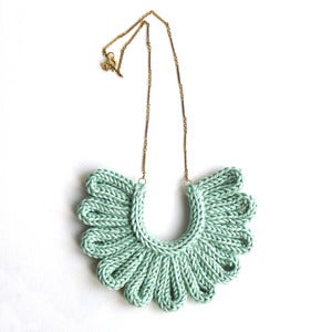 Image of Hawk Necklace, hand-knitted - Sea Foam Green