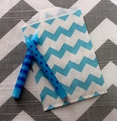 Image of Aqua Mini Chevron Treat Bags