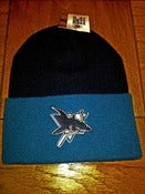 Image of VINTAGE SAN JOSE TEAL BLACK 2 TONE BEANIE TOQUE BY LOGO 7