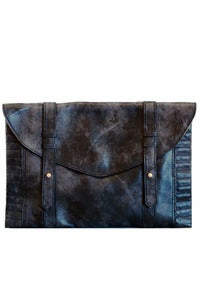 Image of 'Galaxy' Anthracite Distressed Leather Clutch