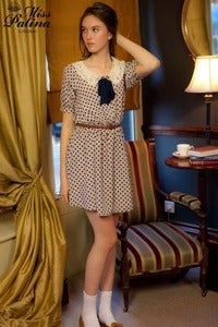 Image of Sugary Lace Collar Dress with Removable Bow (Polka dot)