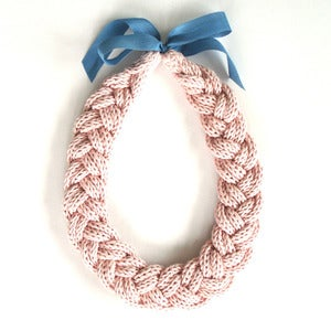 Image of Plait Necklace, hand-knitted - Pale Pink