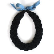 Image of Plait Necklace, hand-knitted - Black