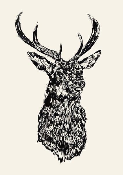 Stag head logo.