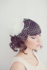 Image of Bandeau french netting veil with silk organza flower bridal hat