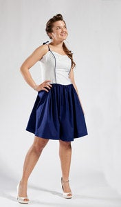 Image of Navy Blue Piping Dress