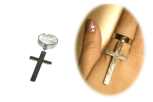 Image of Awesome Silver Cross Pendant Ring