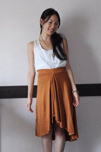 Image of Terracotta Asymmetric Drapy Jersey Skirt