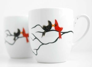 Image of Love Birds Coffee Mugs-Personalized with your names
