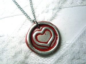 Image of Valentine painted heart color of your choice Wax seal necklace by Ritzy Misfit