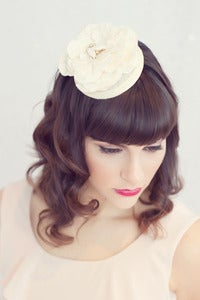 Image of Nature inspired bridal hat topped with vintage brooch
