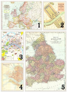 Image of Vintage map postcards