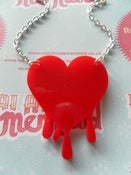 Image of Blood Red Dripping Runny Bright Red Heart Resin Pendant Necklace