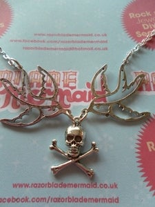 Image of Rockabilly Vintage Style Nautical Swallow and Skull Dark Silvertone Necklace