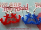 Image of Rockabilly Vintage Style Nautical Tattoo Acrylic Anchor Earrings