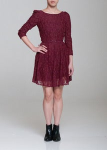 Image of Lace Skater Dress With Self Belt