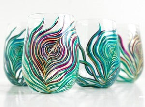 Image of Regal Peacock Stemless Wine Glasses-4 Piece Peacock Feather Collection