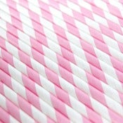 Image of Light Pink Striped Paper Straws