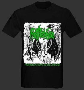 "Image of Rottrevore ""Fornication in Delirium"" T shirt Black"