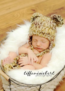 Image of Newborn Fuzzy Bear beanie with earflaps in Pheasant