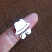 Image of Fedora Hat with Sunglasses - Handmade Silver Rings