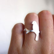 Image of Alighted Bird Ring - Handmade Silver Ring
