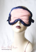 Image of 'Melodie' Sailor inspired Sleep mask in red stripes and navy blue