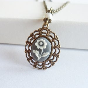 Image of Prelude Cameo Necklace (grey)
