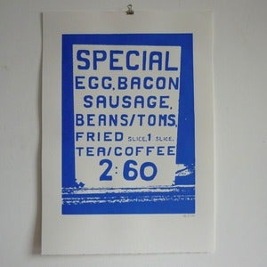 Image of Big Breakfast screenprint on paper - Blue
