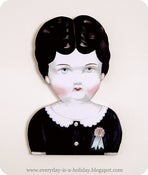 Image of JUMBO Charlotte Antique porcelain doll head wood diecut