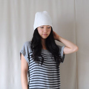 Image of White/Cream Cotton Knit Slouchy Hat