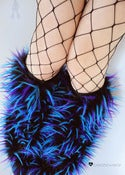 Image of Festival fluffies uv turquoise/purple/black 