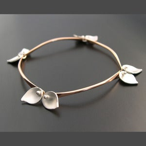 Image of Bamboo Bracelet - Small Leaves - Rose Gold Filled