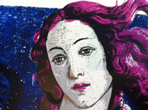 "Image of ""Venus -Blue"" screen print on card by K-GUY, blue"