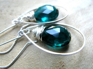 Image of Peacock Blue Quartz Halo Hoop Earrings in Sterling Silver