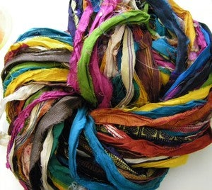 Image of At the Bahamas: Multi Colored Recycled Sari Silk Ribbon Yarn
