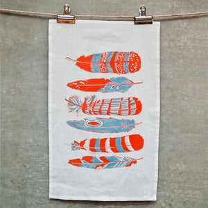 Image of Orange Feathers Tea Towel