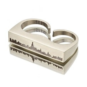 Image of DOUBLE FINGER NYC SKYLINE CUT-OUT RING