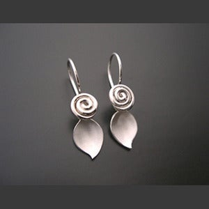 Image of Sterling Rosette with Leaf Earrings