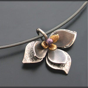 Image of Layered Lotus Pendant-Purple