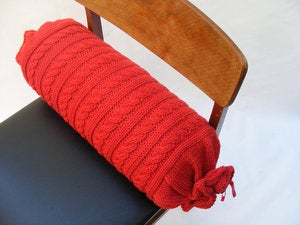 Image of Hand Knit Bolster 45 x 17cm - red cable knit