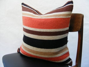Image of Hand Knit Cushion 50 x 50cm - terracotta stripe