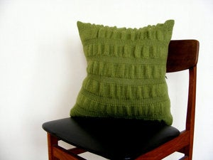 Image of Hand Knit Cushion 45 x 45cm - apple ripple effect