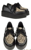 Image of Demonia Suede Platform Leopard Print Creeper Shoes