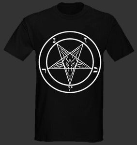 "Image of Satan "" Pentagram "" T shirt white Logo"