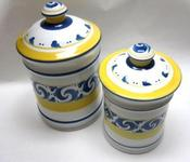 "Image of Herend Hungary Village Pottery ""Splash"" Medium & Large Canister Set"