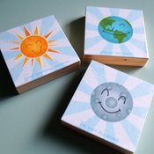Image of Happy Planets - World, Sunshine and Moon Art Blocks