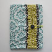 Image of covered notebook - turquoise damask