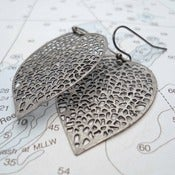 Image of Leaf Filigree Earrings in Gunmetal, inspired by Anthropologie