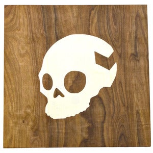 Image of skull wood panel